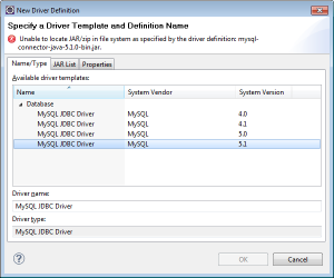 Selecting MySQL JDBC Driver 5.1