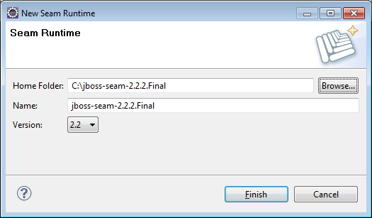 Specifying Seam 2.2.2 final as the Seam runtime