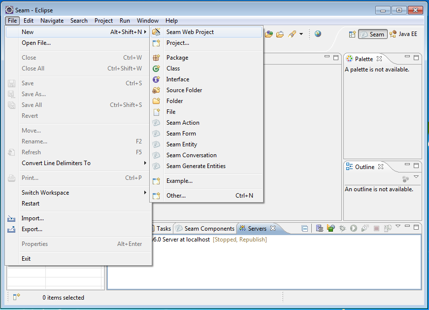 Creating a new Seam web project in Eclipse