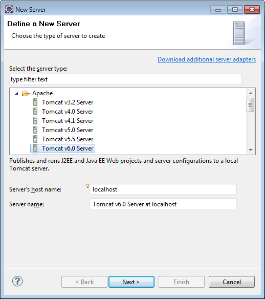 Adding Tomcat 6 as the web server in Eclipse workspace