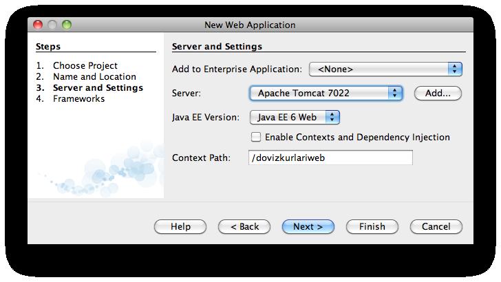 NetBeans'de Tomcat 7 için yeni proje oluşturma