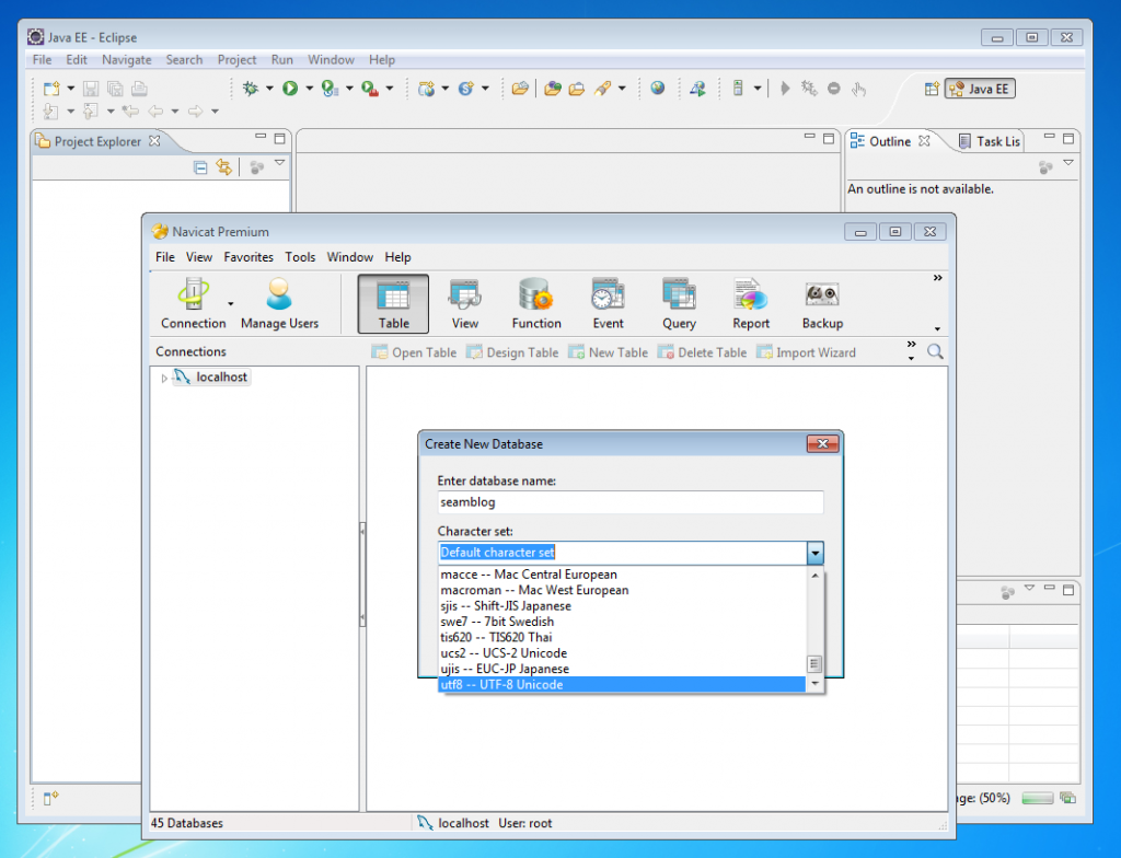 Creating a new database in Navicat