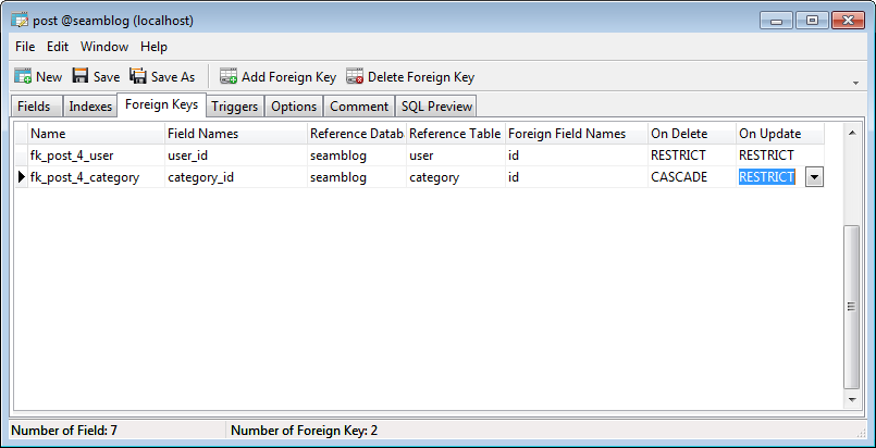 Defining a foreign key in Navicat