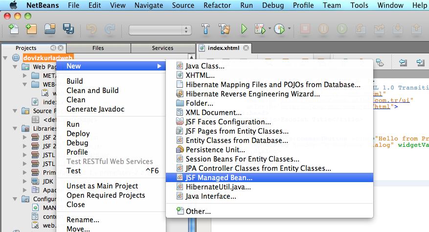 NetBeans'de yeni JSF Managed Bean oluşturma